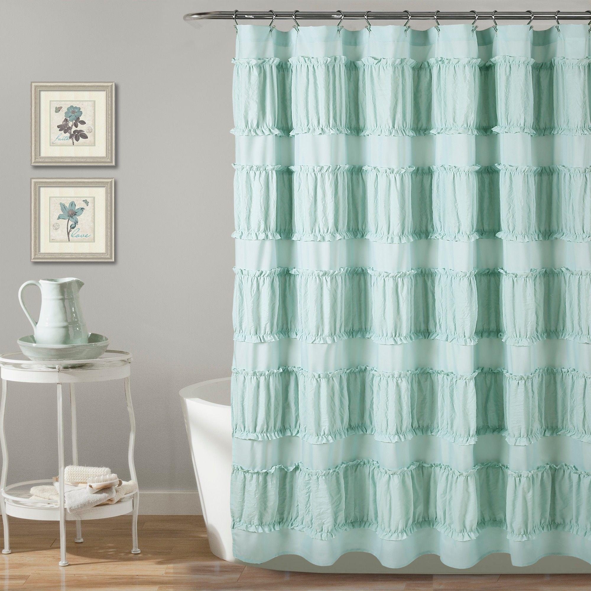 Nova Ruffle Shower Curtain Blue Lush Decor Adult Unisex