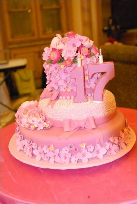 Simple Pink 17th Birthday Cake Jojo Pix Style