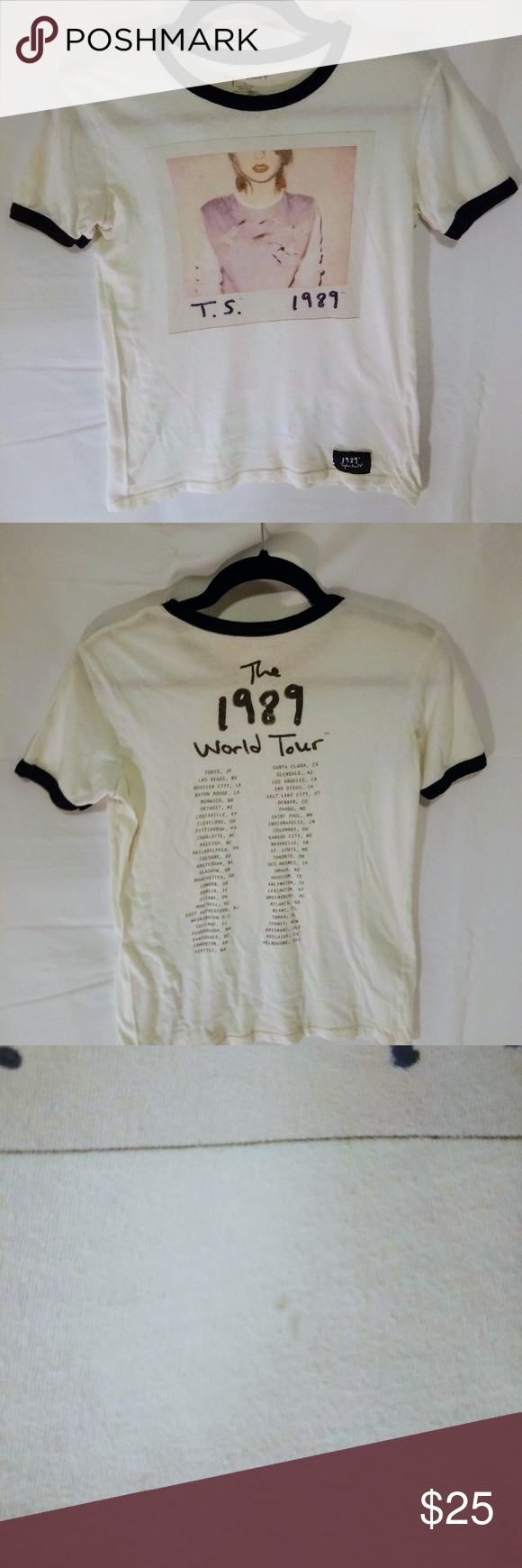 Taylor Swift concert tee Taylor Swift 1989 tour concert tee. Great used condition. Has a small stain on the front that you can barely see. See attached picture. Tops Tees - Short Sleeve #countryconcertoutfit