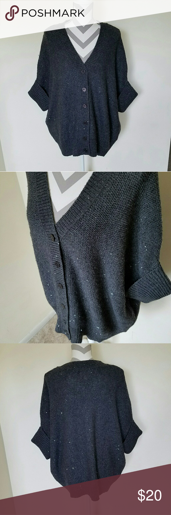 Oversized Sequin Cardigan Sweater! Charcoal colored sweater with ...
