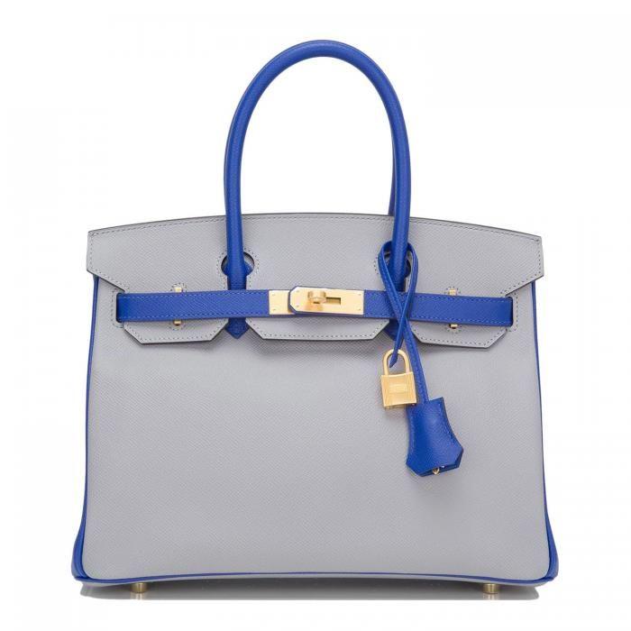 f380622fe62 Hermes Birkin Bag 30cm HSS Gris Mouette And Blue Electric Epsom Brushed  Gold Hardware  27