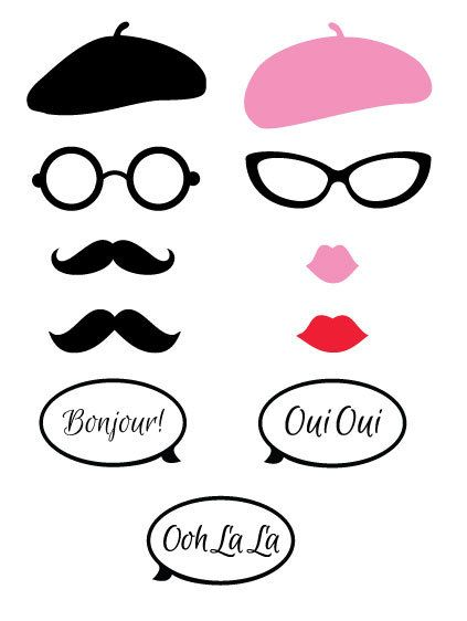 Parisian Theme Photo Booth Props French Themed Party Photo Props