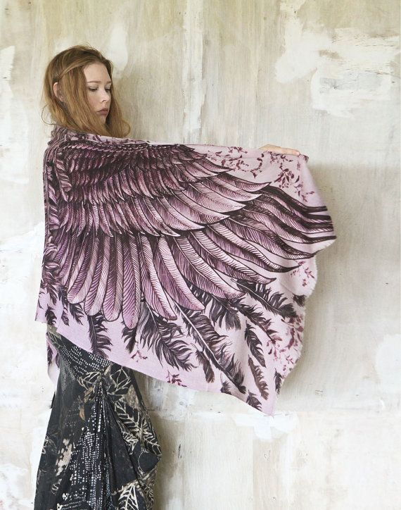 LOVING THESE Cashmere Women scarf Dusty purple Wings and feathers by Shovava