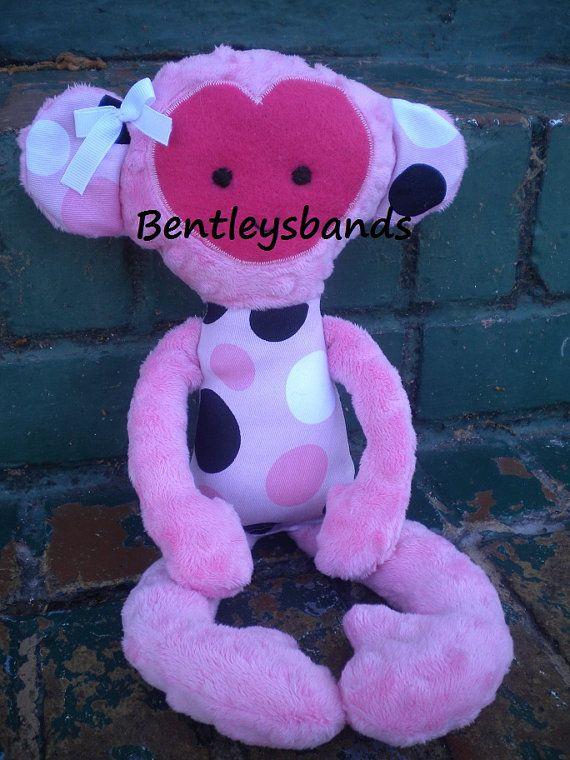 Handmade Monkey Softie Plush childs Toy Doll by Bentleysbands, $20.00