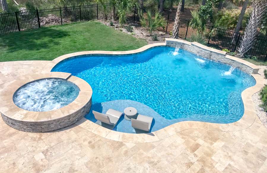 Free Form Pool Ideas Shapes And Pictures Blue Haven Pools Backyard Inground Swimming Pools Backyard Inground Inground Pool Landscaping