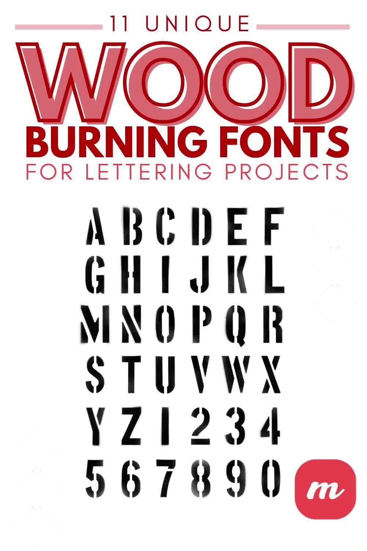 11 Unique Wood Burning Fonts For Lettering Projects Video Video In 2020 Lettering Lettering Alphabet Pyrography Tips