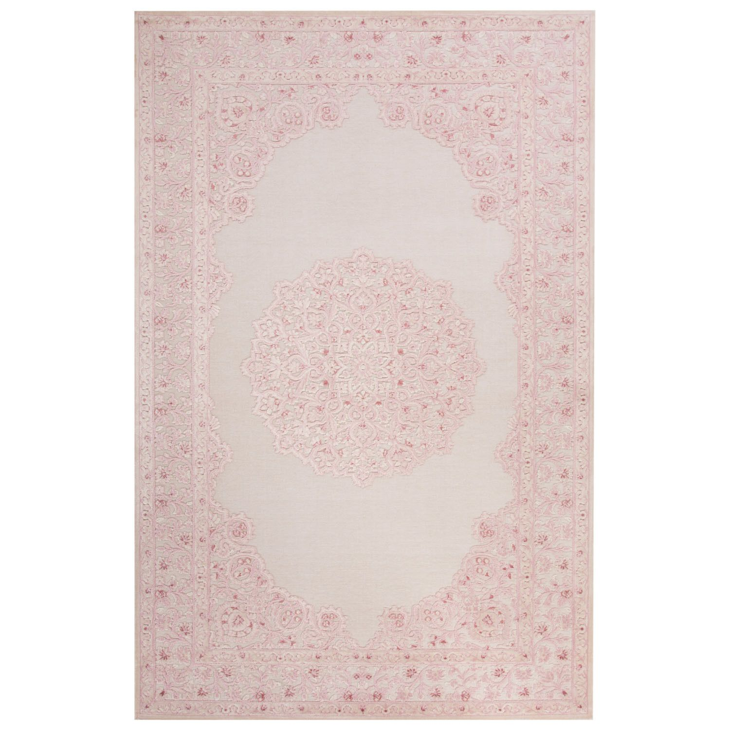 Maison Rouge Edith Medallion Pink White Area Rug 5 X 7