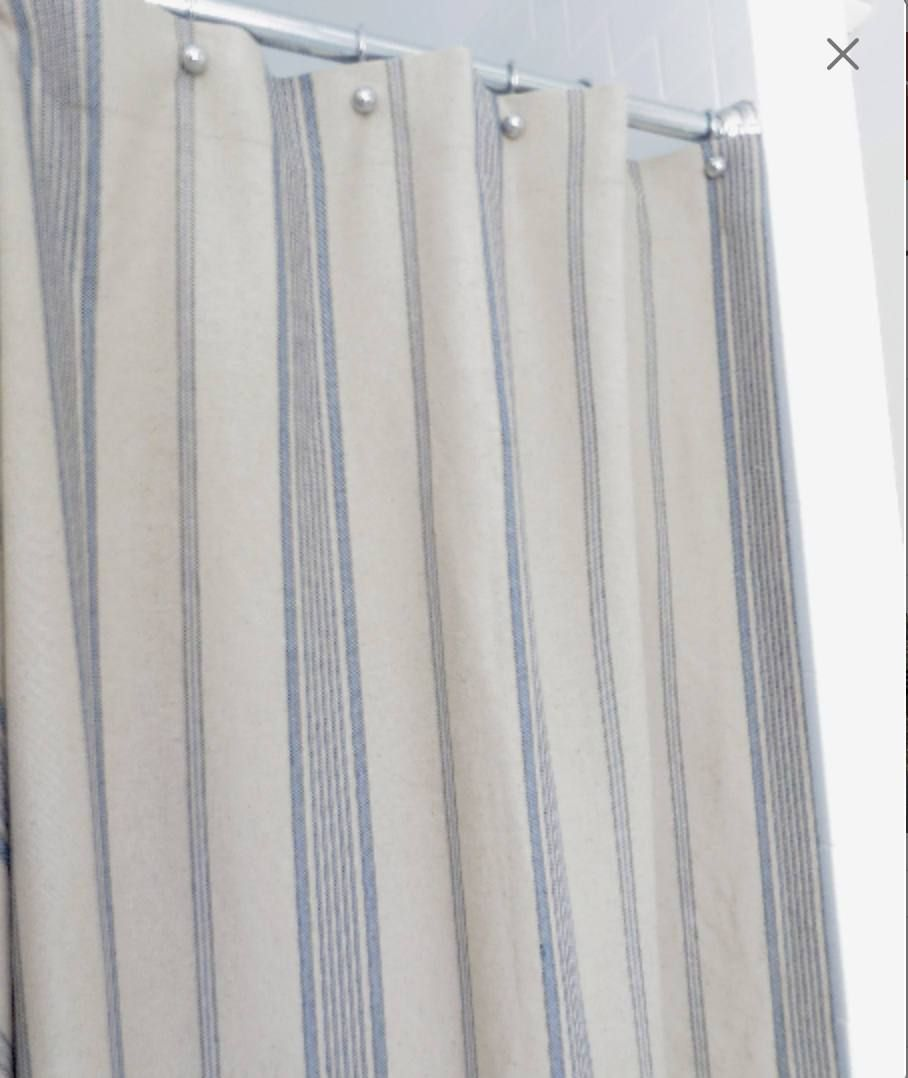 Modern Farmhouse Shower Curtain Striped Grain Sack French Ticking Custom Fabric Feedsack Blue St Farmhouse Shower Curtain Striped Shower Curtains Custom Fabric