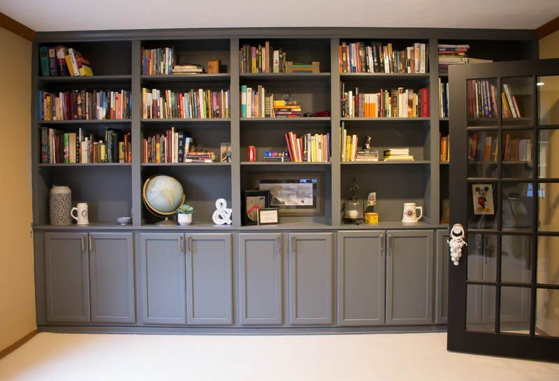 how to make your own custom built ins with cheap cabinets - How To Make Custom Built In Bookshelves