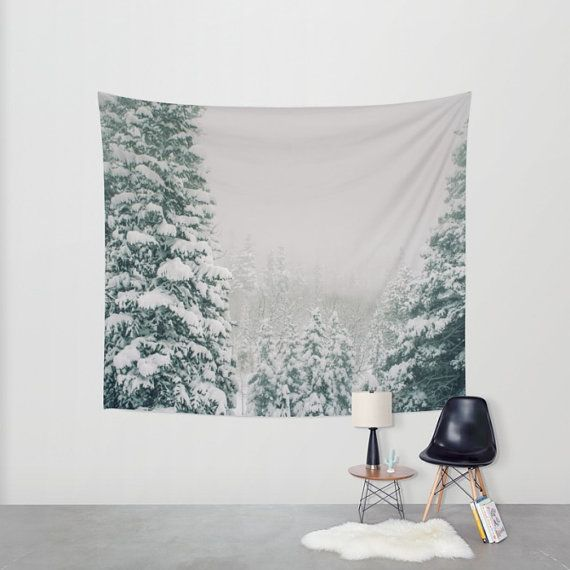 Snowy Peaks Christmas Tree Farm: Snowy Forest Tapestry, Winter Nature Decor, Christmas