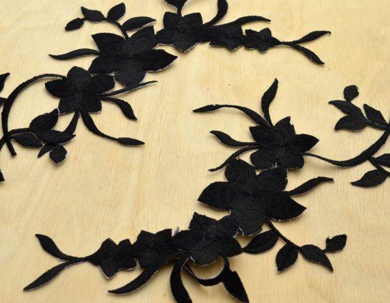 Fiore nero ricami patch applique con ferro su supporto
