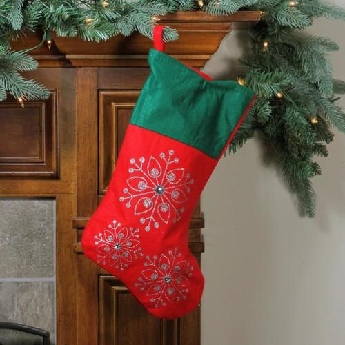19 Red And Green Felt Christmas Stocking With Snowflakes Christmas Stockings Felt Christmas Stockings Felt Christmas