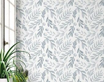 Peel And Stick Wallpaper Etsy Blue Watercolor Floral Wallpaper Watercolor Floral Wallpaper Watercolor Wallpaper