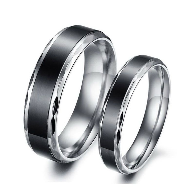 His and hers unique cheap black titanium wedding rings is very low