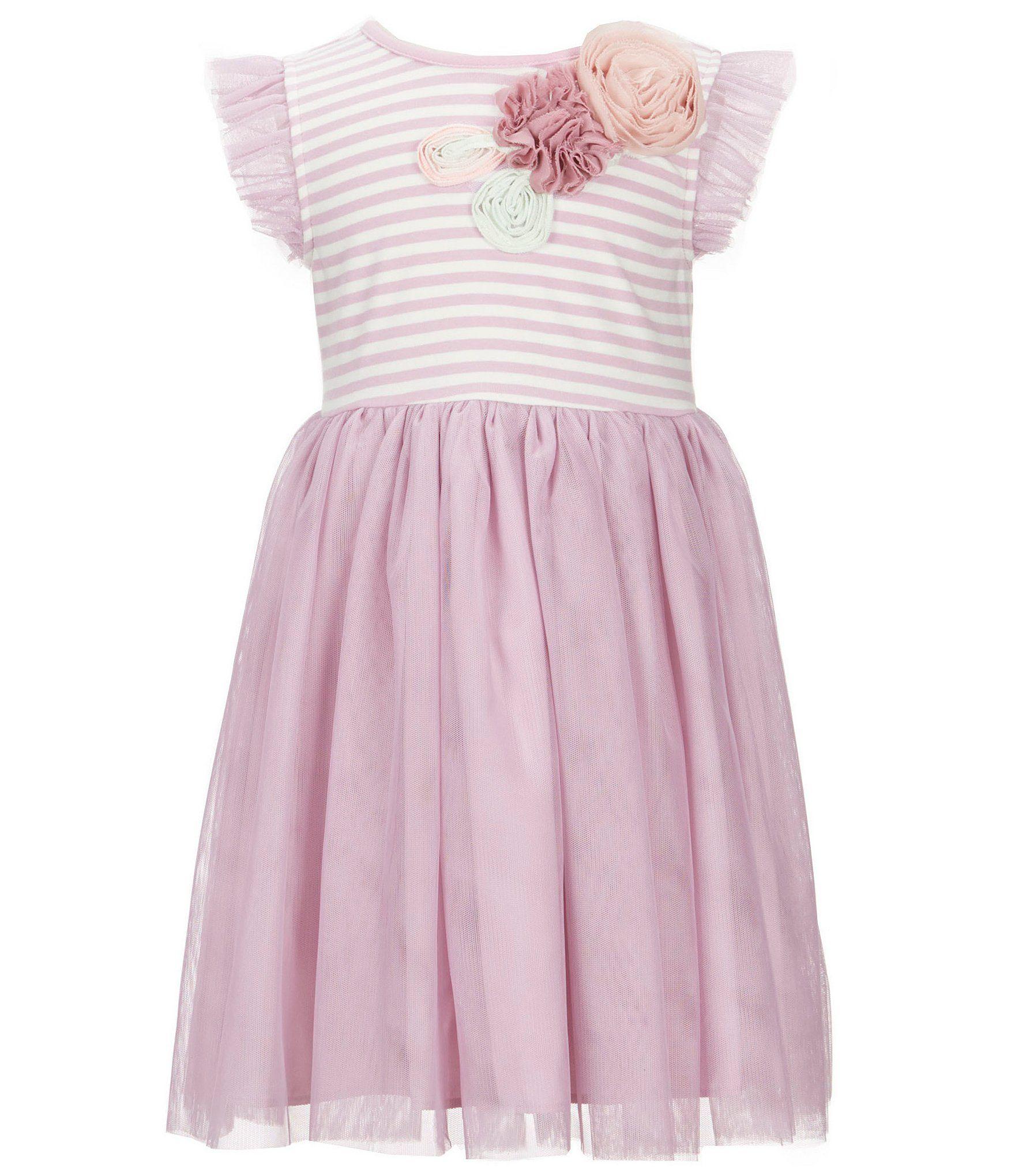 Marmellata Little Girls 2T6X FloralApplique Flutter Sleeve Dress
