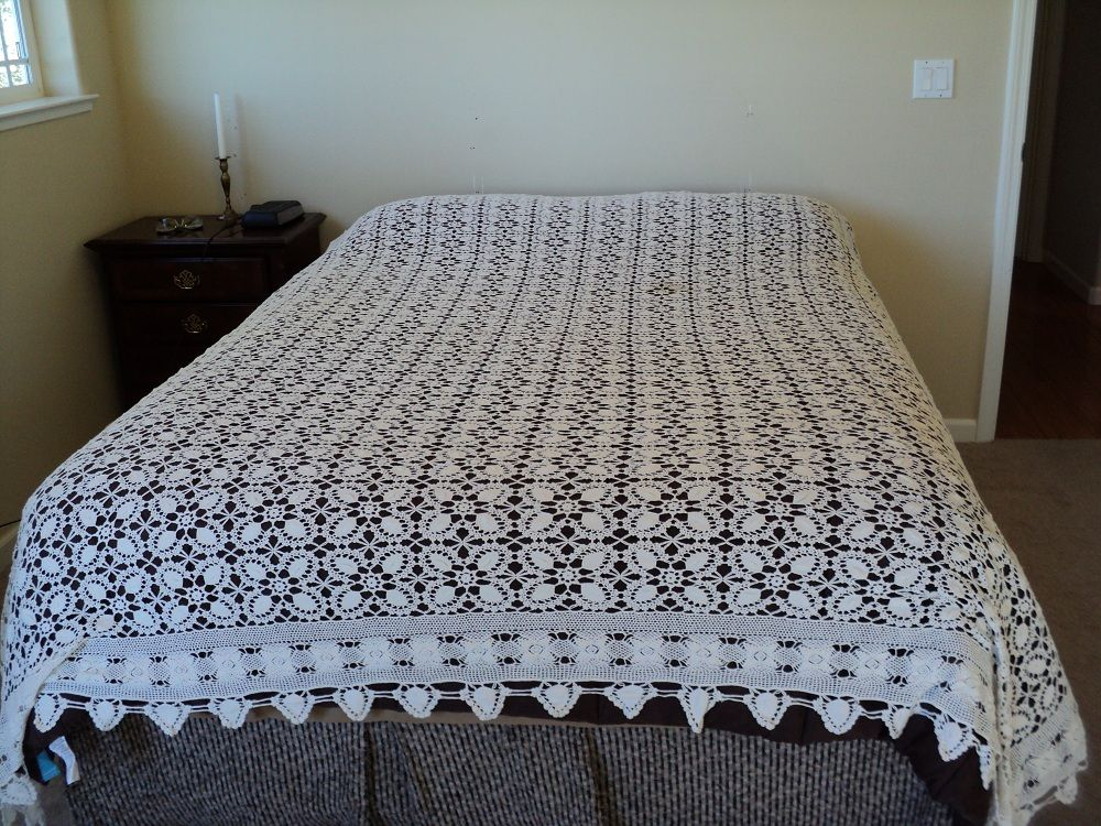 Hand Crocheted Vintage lace Tablecloth or bedcover -very large