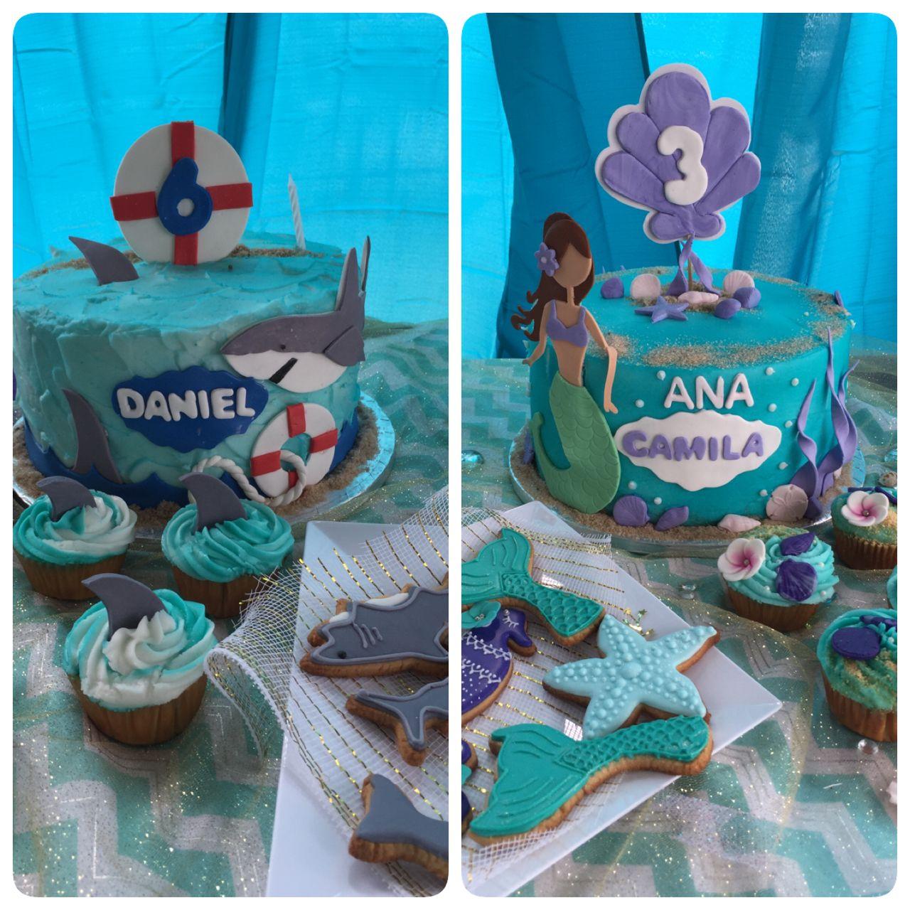 Mermaid And Shark Birthday Cakes