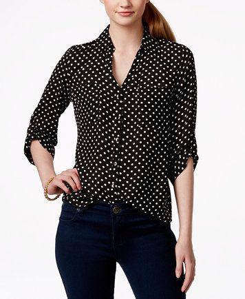 b349eddb472 BCX Juniors  Printed Tab-Sleeve Shirt