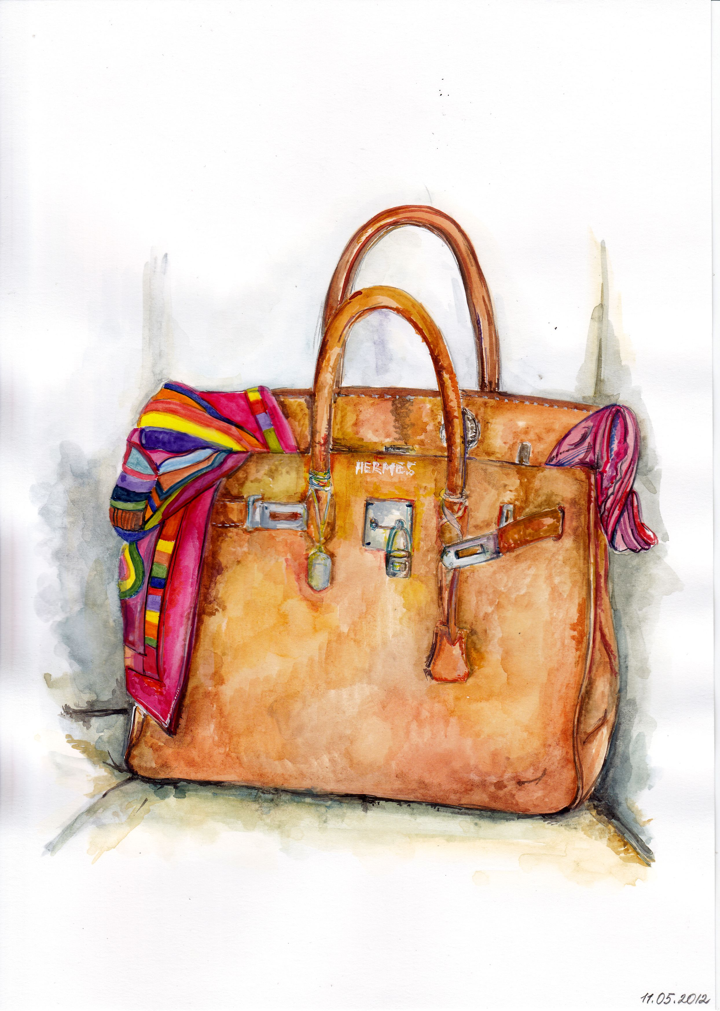 À BagSacs Main Watercolor Et FashionIllustration Hermes QrdxBoWCe
