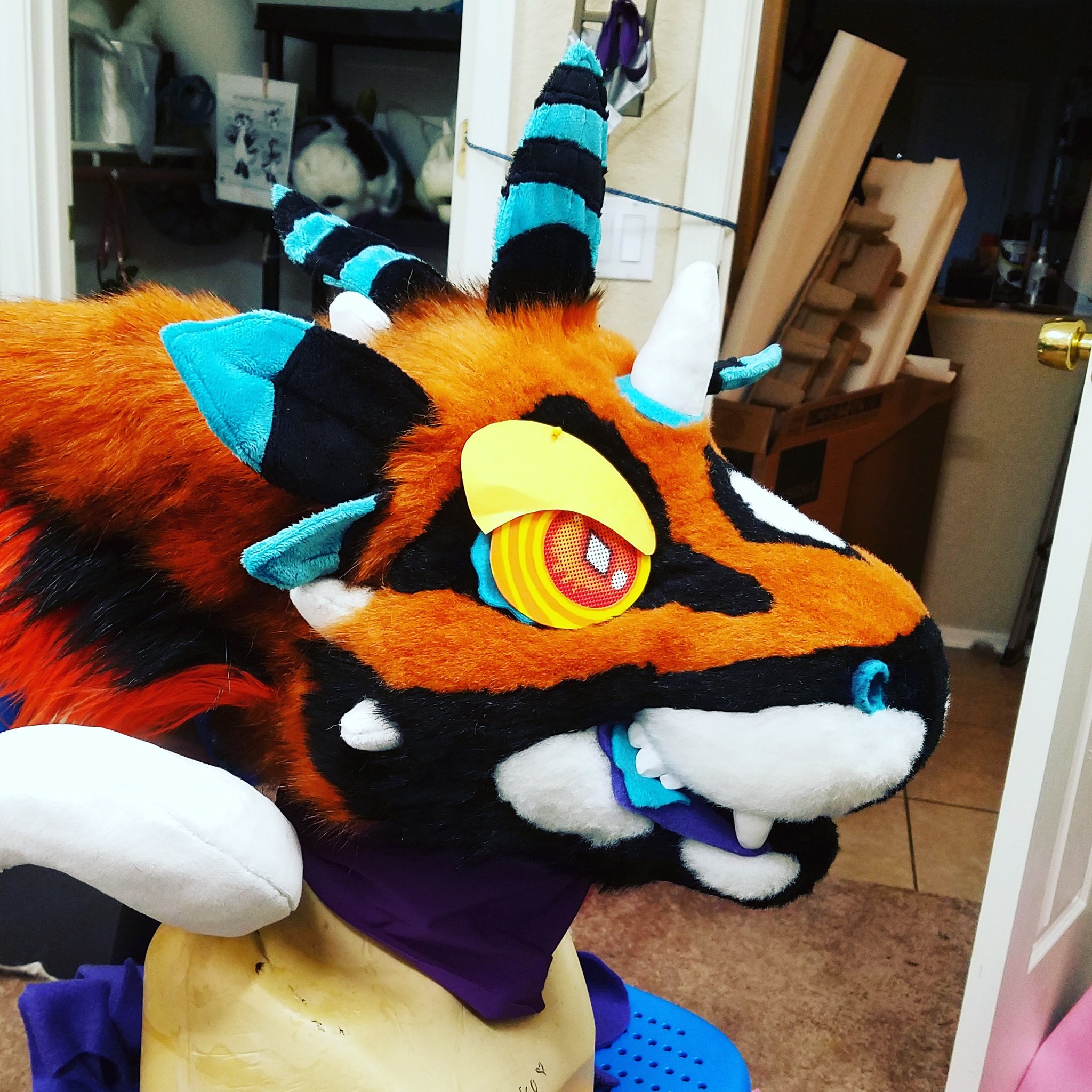 e2bae317a My fursuit head. This Dutch Angel Dragon is stunning! Look at those colours!