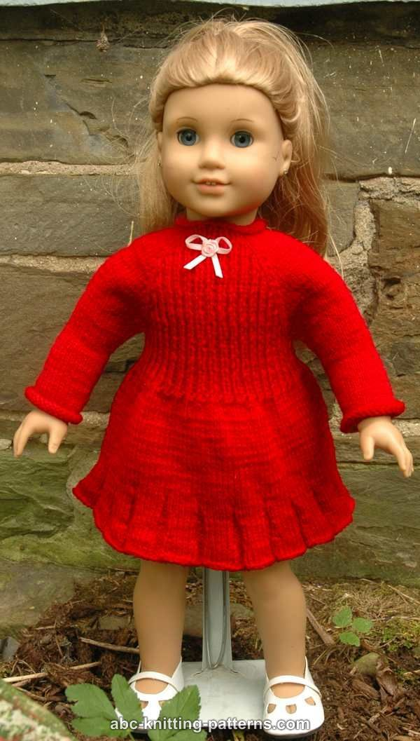 ABC Knitting Patterns - American Girl Doll Little Red Dress | Doll ...