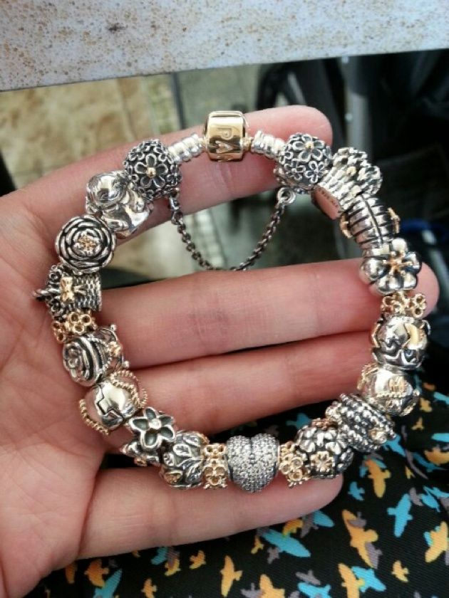 Silver and gold pandora bracelet - We love it! See more Pandora bracelets from http://pandora.vveebly.net