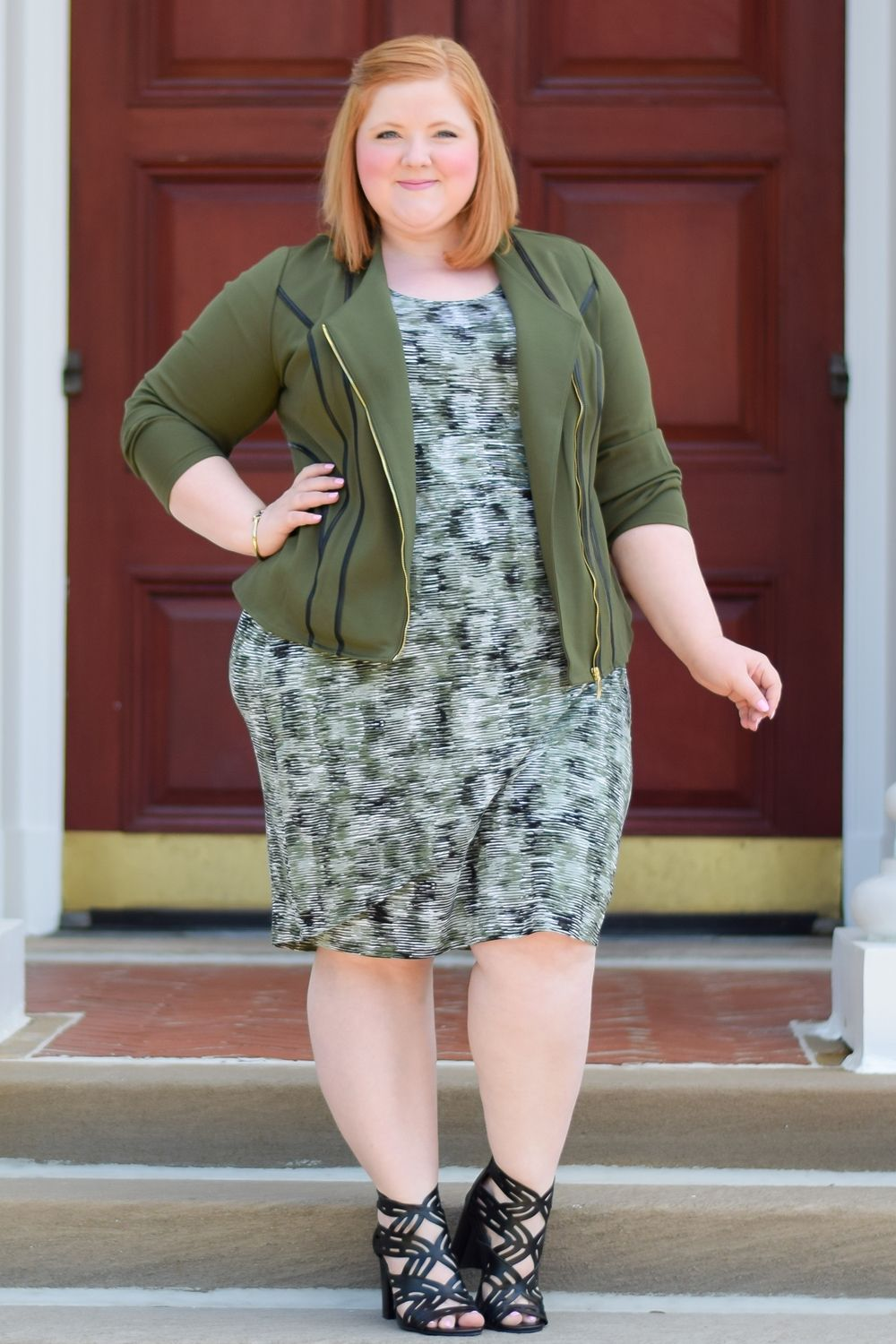 Style remix blush pink and olive green featuring four fall looks