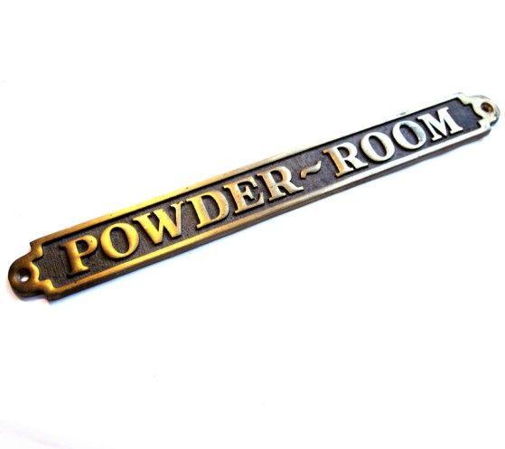 Vintage Solid Brass Metal POWDER ROOM Sign / Door Plaque. $19.00, Via Etsy.