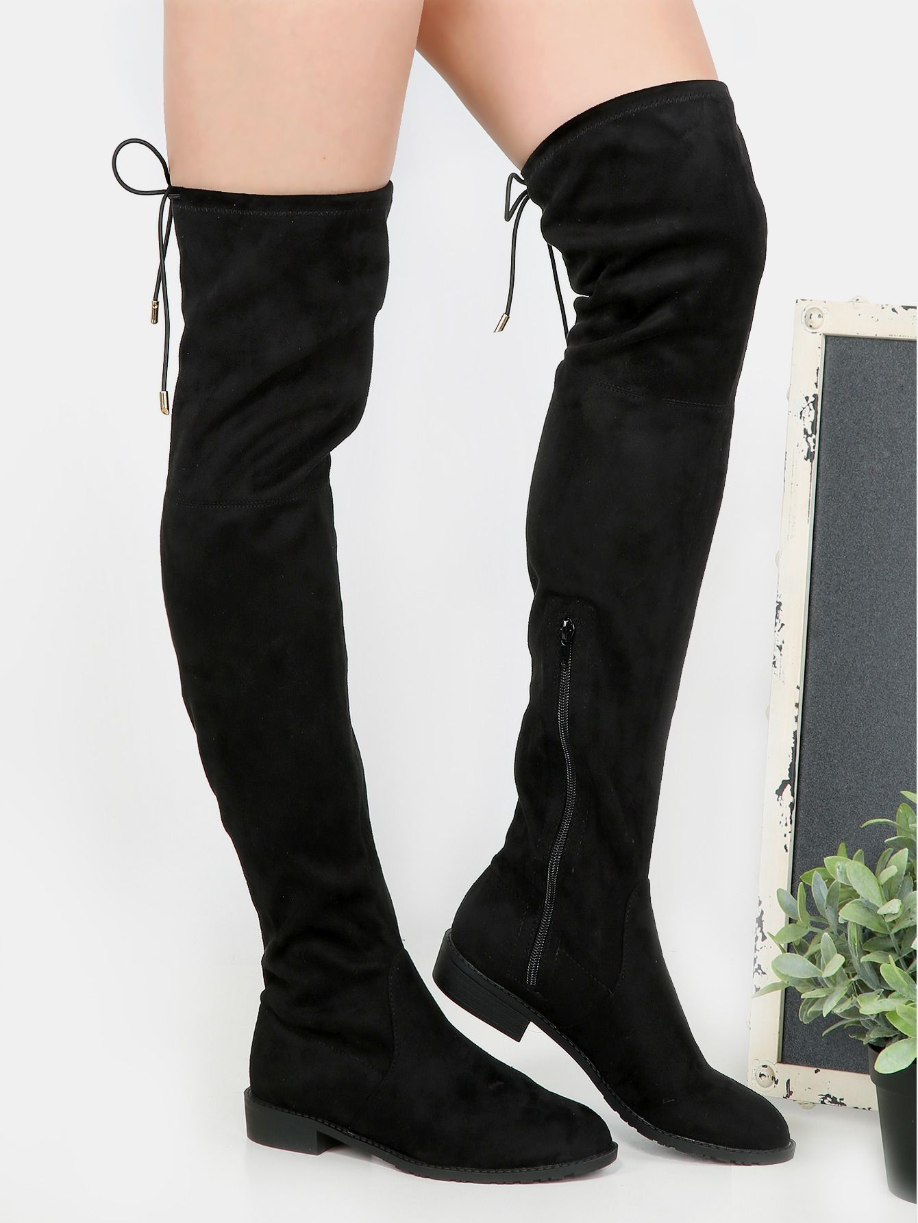 70fec86a1dc Online shopping for Flat Heel Thigh High Boots BLACK from a great selection  of women s fashion clothing   more at MakeMeChic.COM.