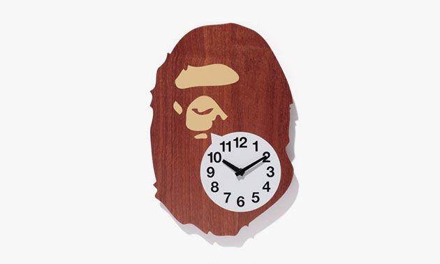 BAPE x case study shop Mahogany Wall Clock and Camo Lamp