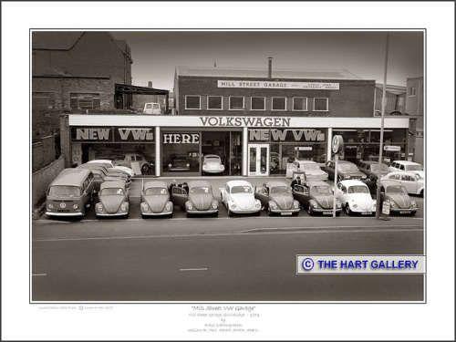 Volkswagen Beetles, Variants & Camper vans for sale. Mill Street Garage, Stourbridge, West Midlands. Photographed in 1971. #VW #Volkswagen #Beetle #VWVan