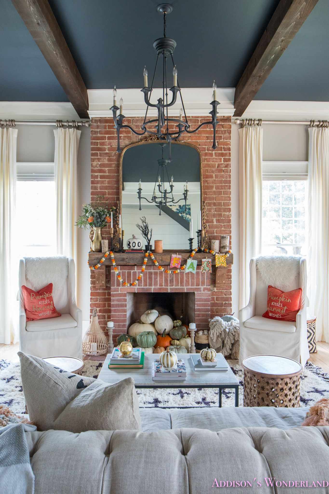 Our Fall & Halloween Living Room Decor w/ Mantle Ideas