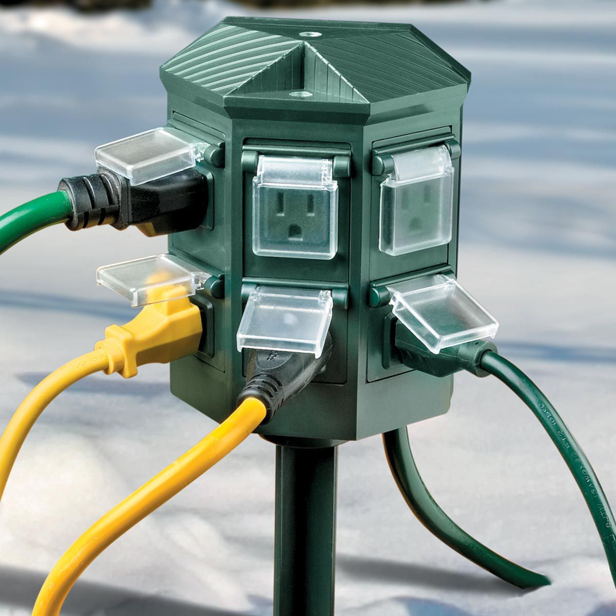 Outside Lights That Don T Need Electricity: Weatherproof Outdoor Timer Power Strip