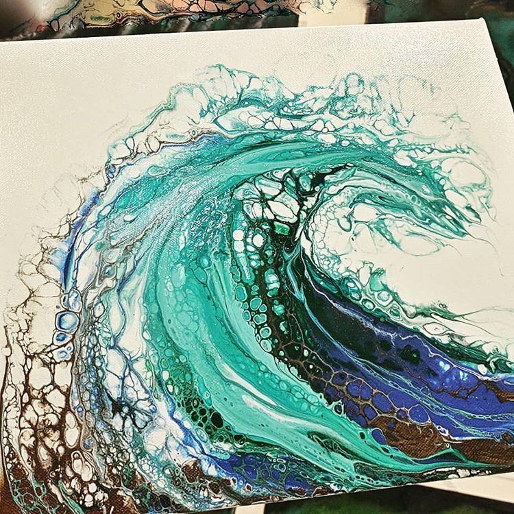 Breaker' 🌊🐳🌊 acrylic pour/swipe . . . . . . . #seascape #waves🌊  #acrylicpainting #acrylicpouring #liq… | Acrylic pouring art, Acrylic art,  Art painting acrylic