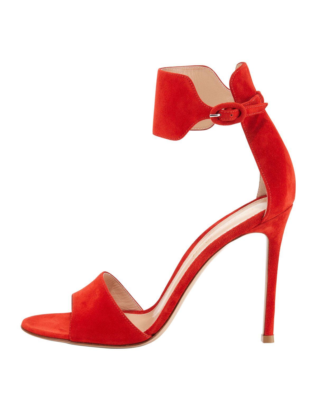 Red Ankle Strap Sandal Heels