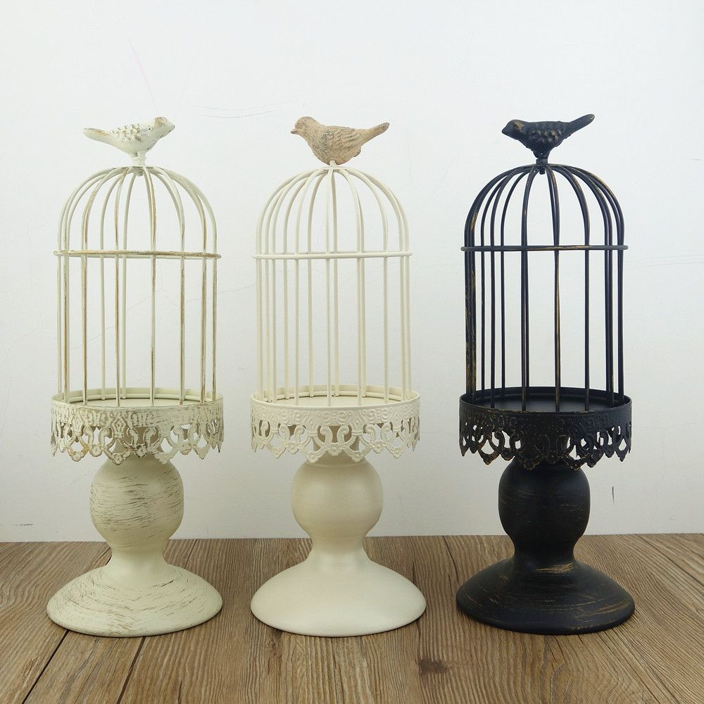Handmade Metal Candleholder Vintage Home Decorative Table Floor Tall Birdcage Candle Holder For Wedding Rated 48