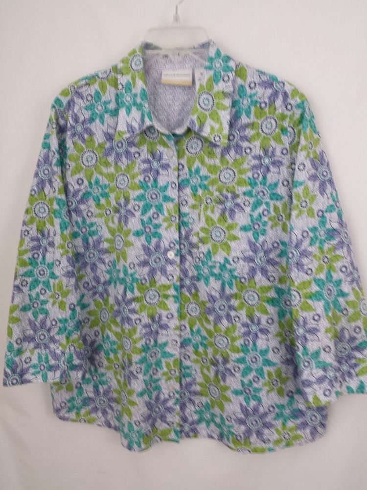 Womens Size 16 Blouse Alfred Dunner Blue Green Floral 100% Cotton 3/4 Sleeve #AlfredDunner #Blouse #Casual