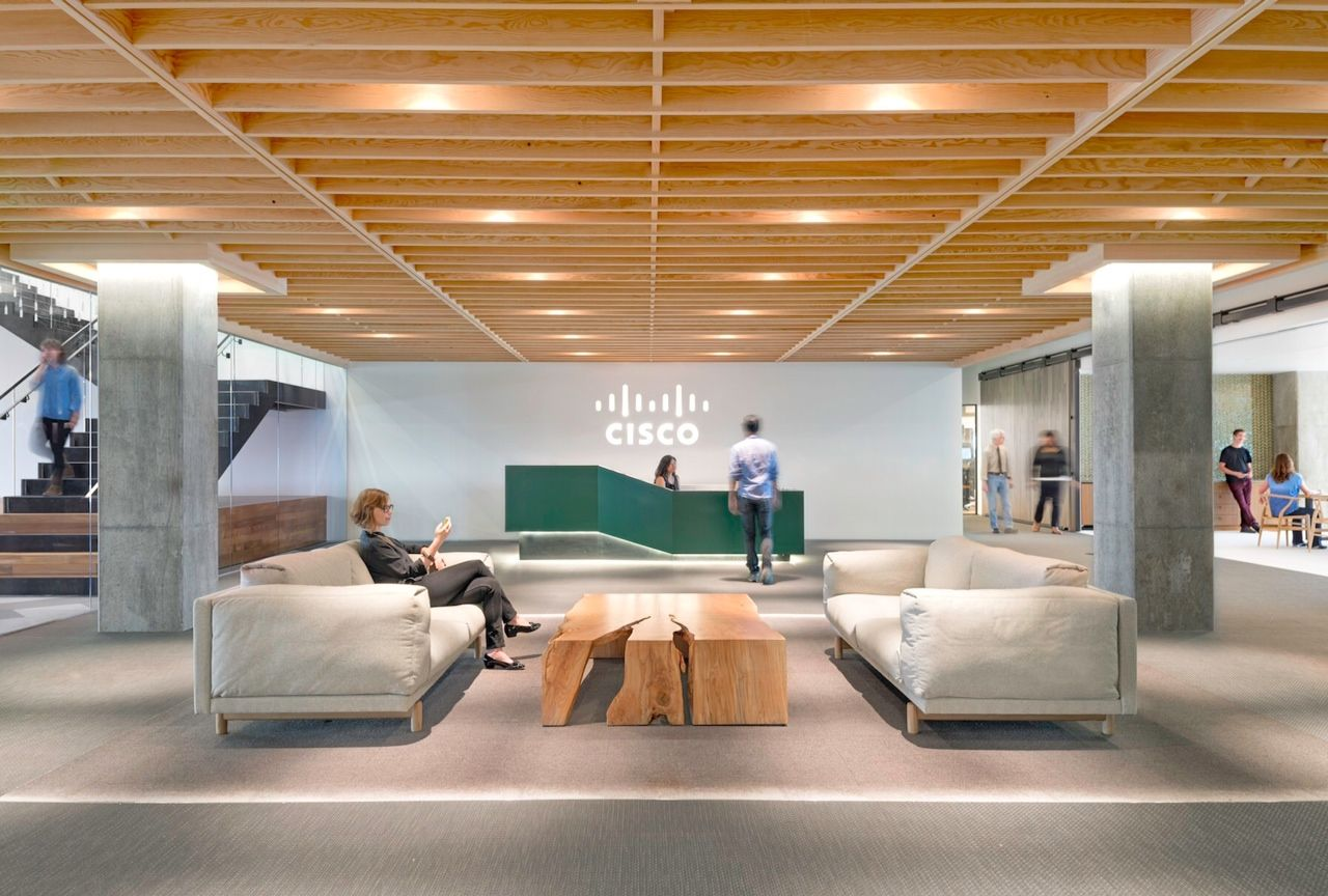 Cisco Systems in San Jose, California features Milliken's Color Wash collection.