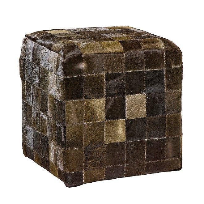 Puff Cube Dark Brown 45x45x45 #puff #pelle #patchwork #madeinitaly ...