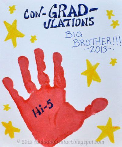 Handprint Hi Five Graduation Card Good For Pre K Graduates Add A Cute Poem From The Teacher Too