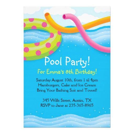 Pool Party Themed Invitations Doris Pinterest
