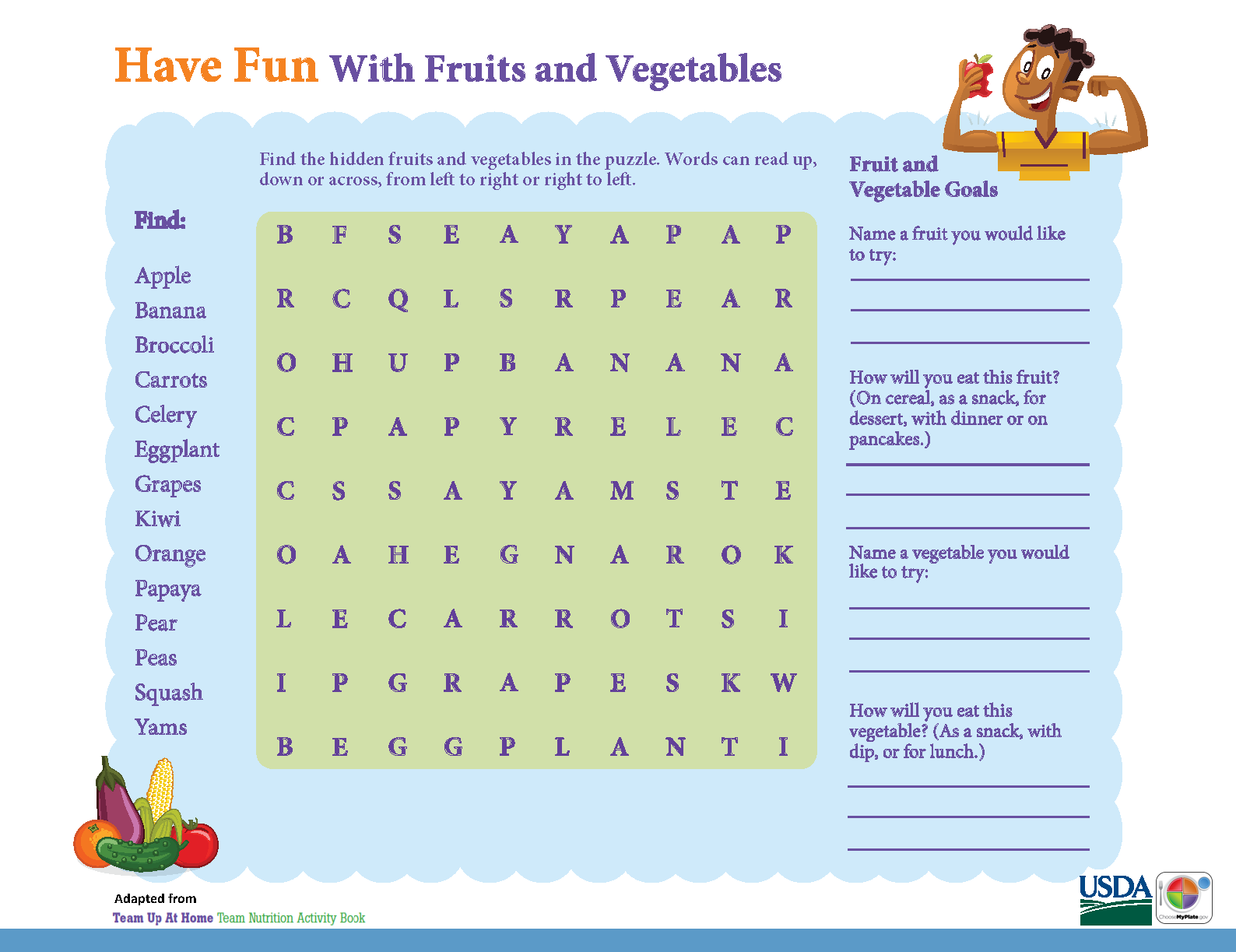 Have Fun with #Fruits & #Vegetables\' in this #MyPlate activity sheet ...