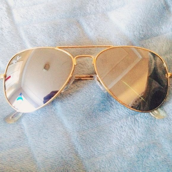 ray ban gold mirror aviator