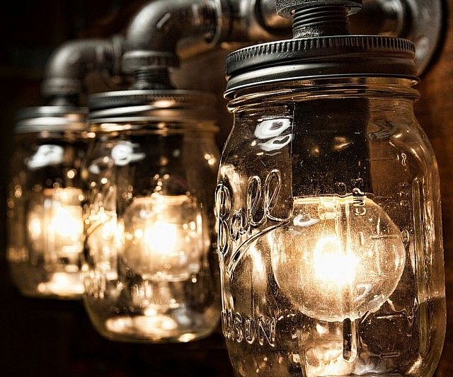 Mason Jar Vanity Light Pipes Vanities And Industrial