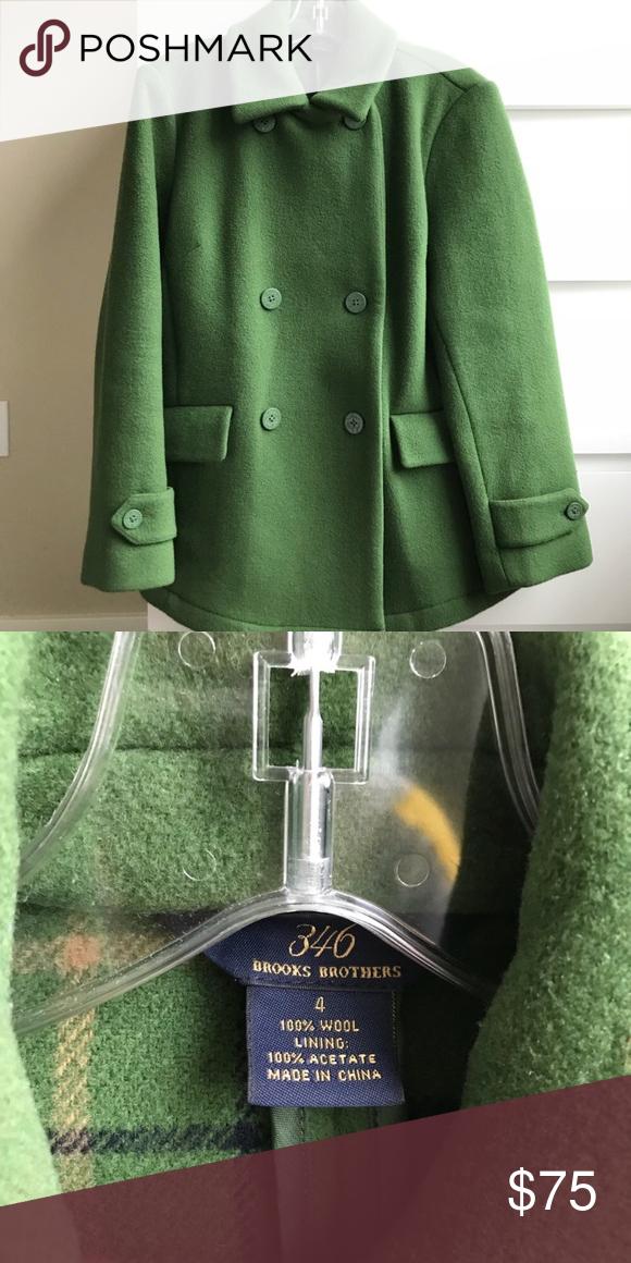 Brooks Brothers Green Pea Coat 100 Wool 100 wool pea