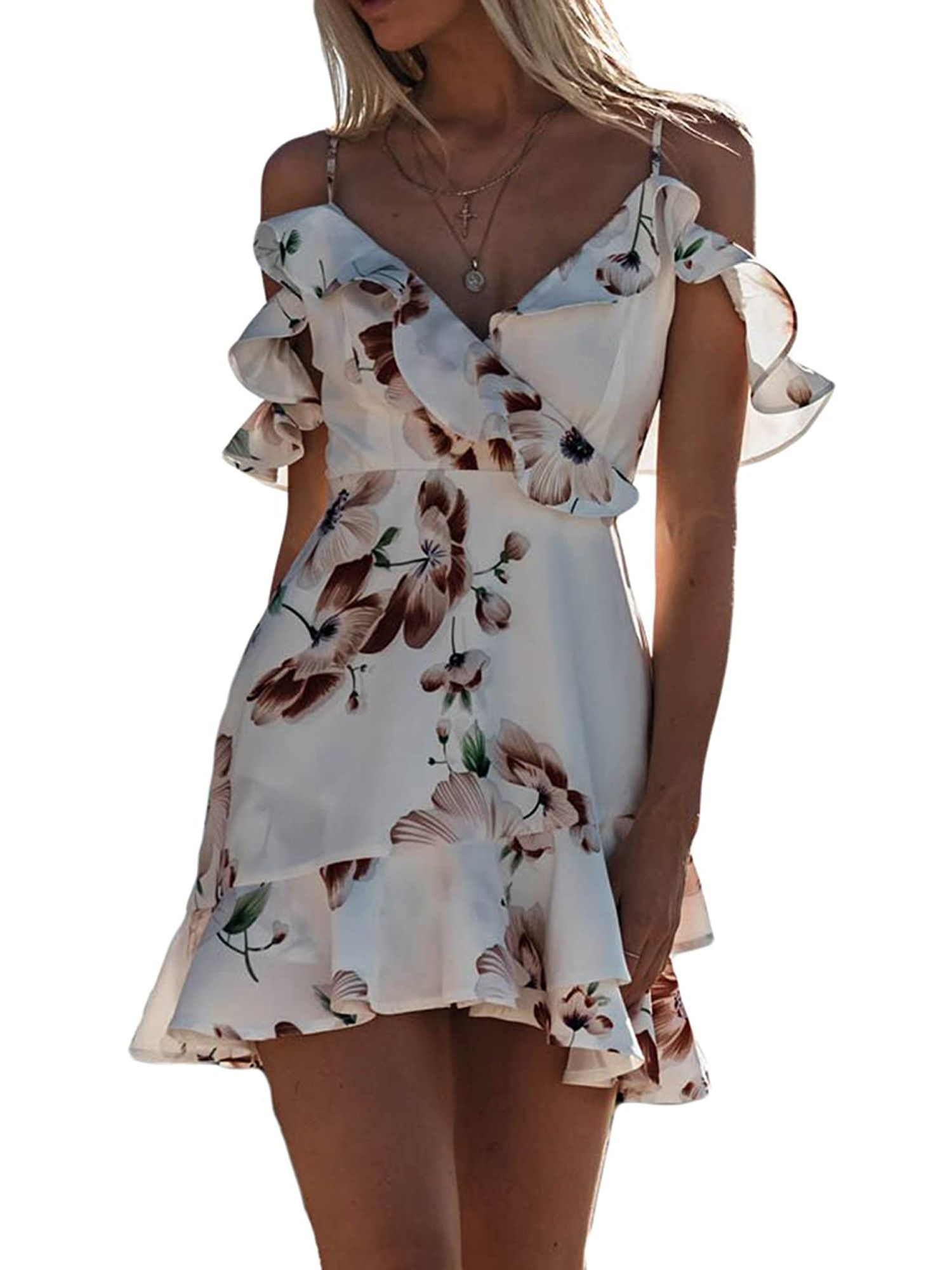 Ma Baby Womens Boho Floral Chiffon Summer Party Beach Short Mini Dress Sundress Chiffon Summer Dress Short Summer Dresses Boho Summer Dresses [ 2000 x 1500 Pixel ]