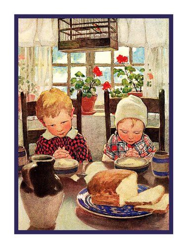Children Giving Thanks for their Meal By Jessie Willcox Smith Counted Cross Stitch or Counted Needlepoint Pattern