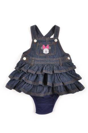 0310e0608 Braga con falda para bebe niña, en tela de jeans en color azul oscuro.