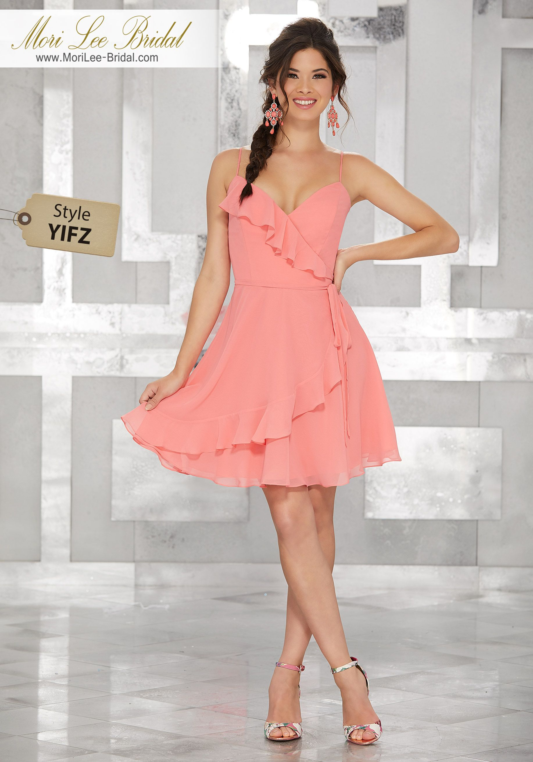 Style YIFZWrap Style Chiffon Party Dress with Ruffled NecklineColors ...