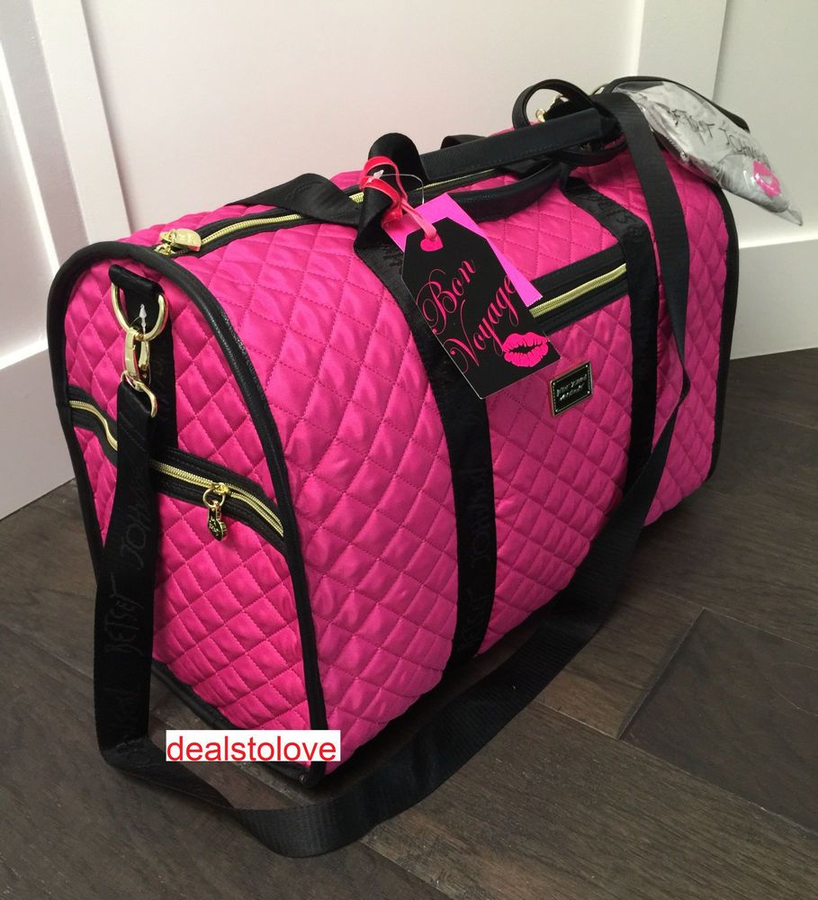 0c6861d80c7c NWT Betsey Johnson Quilted Large Duffel Pink Fushia Diamond ...